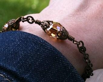 Vintaj, vintaj bracelet, vintaj jewelry, bead bracelet, great design, unique, contemporary, natural brass, sundance, sundance style jewelry
