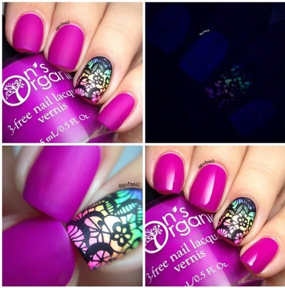MATTE Purple Nail Polish Glow in the Dark Nail Polish