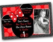 SALE Minnie Mouse Invitations with FREE Thank you card, Minnie Mouse Birthday, Red Minnie Mouse invitations, Minnie Mouse party