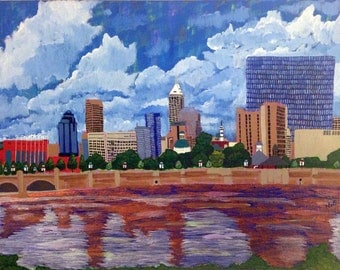 """Painting - Title: Indianapolis No. 1 - 11""""x14"""" Acrylic on CANVAS by N.E.W. STEVENS"""