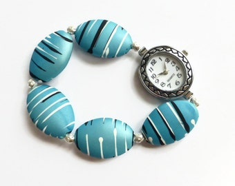 Blue costume watch, beaded watch band, stretch watch, UK shop.