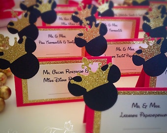Prince Mickey Place Card Food Tent Gold Crown Mickey Mouse