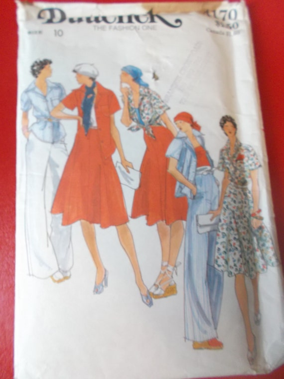 Size 10 1970s Shirt Skirt And Pants Butterick 4170 Sewing