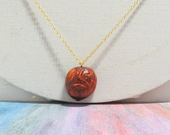 Hand Carved Avocado Pit Necklace - Curved Edges Design