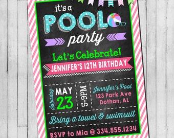 Pool Party Birthday Invitation | Girl Teen Pool Party | Beach Party | Teen Beach Party | Digital Invitation