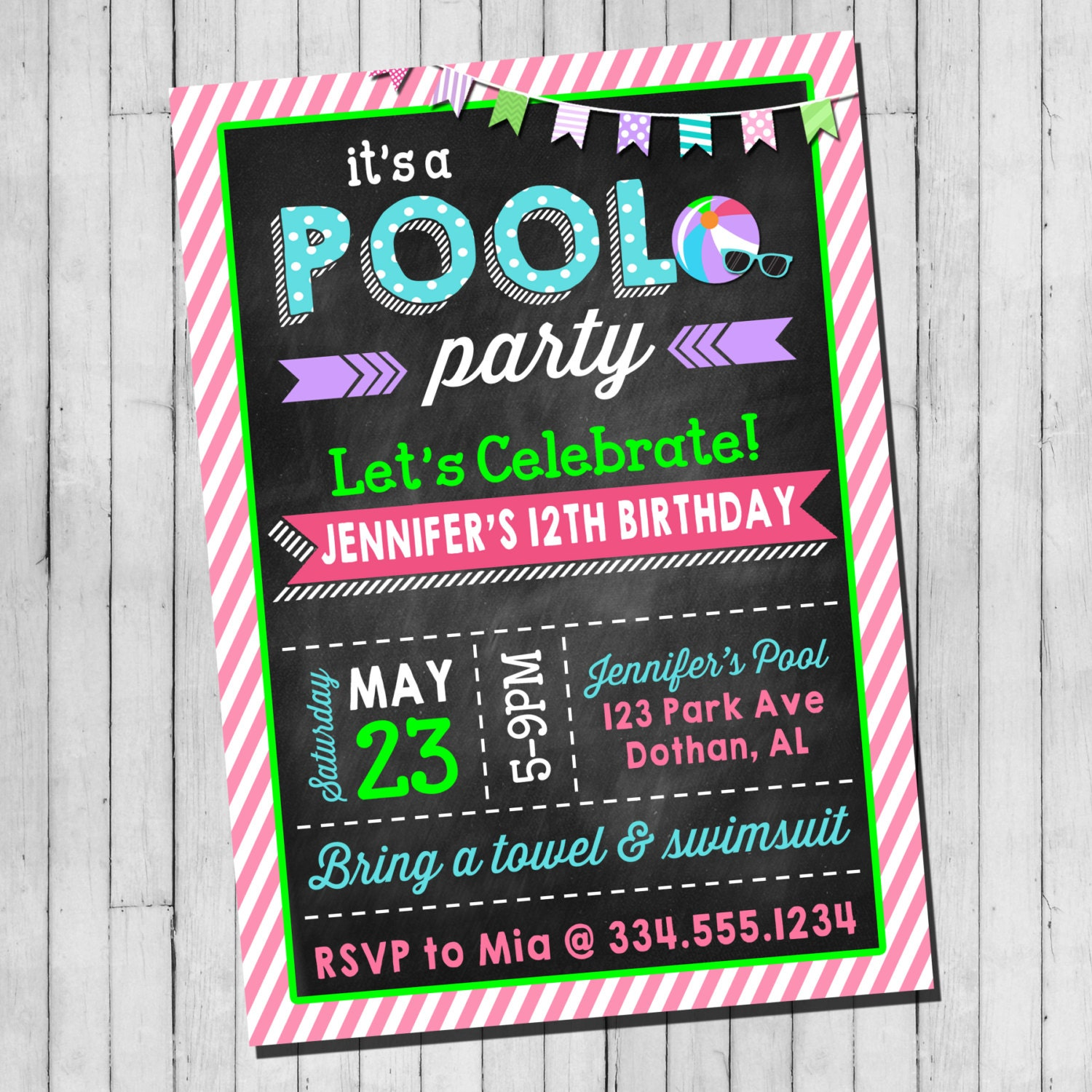 Pool Party Birthday Invitation Girl Teen Pool Party Beach