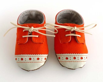 Baby Boy or Girl Shoes Orange Canvas with Brogued Leather Soft Sole Shoes Oxford Wingtips Wing tips