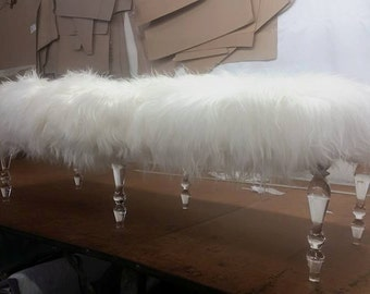 BUILT TO ORDER // Custom Made Benches with Faux Flokati Sheepskin Fur and Lucite Legs - Other sizes and fabrics avail.