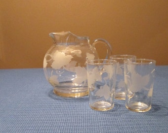 Vintage Glass Juice Pitcher and Three Glasses