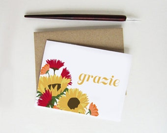 Grazie Thank You Card • Tuscan Sunflowers • Blank Inside