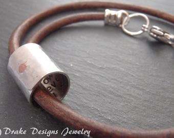 Mens personalized Boyfriend gift mens leather bracelet anniversary for her bracelet hidden secret message
