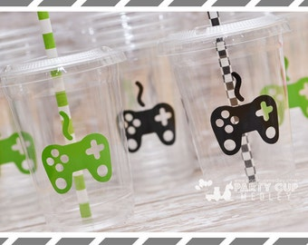 Video Gamer Birthday Party, Set of 8 or 12 You Choose Party Cups, Favor Cups or Reusable Souvenir Cup