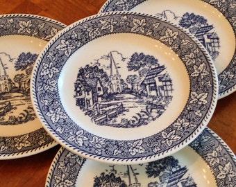 "Homer Laughlin ""Shakespeare Country"" Blue Transferware - Set of Four Dessert or Pie Plates"