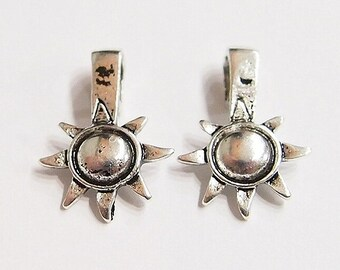 20 Antique Silver Sun and Moon Glue on Bails, Great for Crafts, Pendant, Cameos, Glass, Tiles, Beads