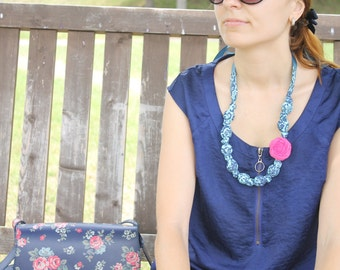 Fabric Necklace,Teething Necklace, Chomping Necklace, Nursing Necklace -Floral Blues with Pink Rose