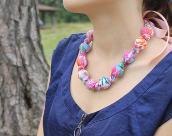 Fabric Statement Necklace,Teething Necklace, Chomping Necklace, Nursing Necklace - Pinks a bloom
