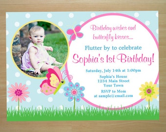 Butterfly Birthday Invitation - Digital File (Printing Services Available)