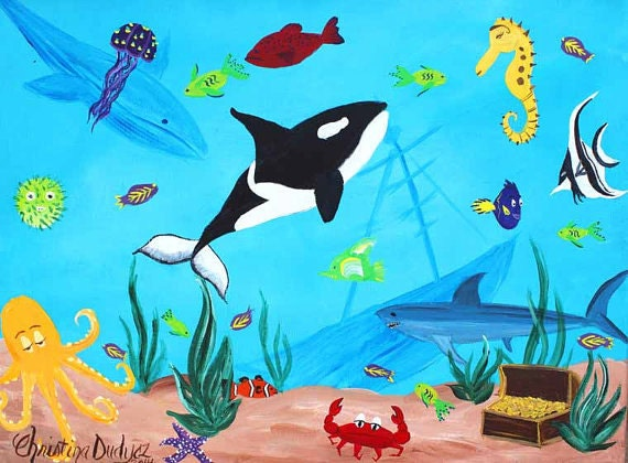 Items similar to Under The Sea Painting on Canvas, Kids Bathroom ...