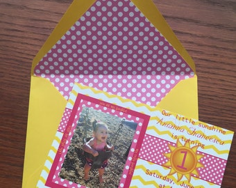 Our Little Sunshine Childrens Birthday Party Invitation, Colorful Invite for a Boy or Girl, Unique and Affordable Bday Invite with Envelope