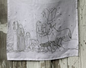 Linen Tea Towel - Christmas Tea Towel - Nativity Tea Towel - Holiday Towel - Christmas Gift - Gift For Her - White & Silver Tea Towel