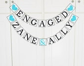 FREE SHIPPING, Personalized Engaged name banners, Engagement party decorations, Custom name garland, Engaged party sign, Turquoise hearts