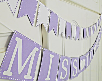 FREE SHIPPING, Miss To Mrs banner, Bridal shower party, Bachelorette party decoration, Engagement party garland, Party sign, Purple, White