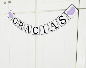 FREE SHIPPING, Gracias banner, Bridal shower banner, Wedding banner, Engagement party decoration, Wedding signs, Photo prop, Purple hearts