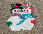 Vintage Christmas Snowman Ornament Large Refrigerator Magnet