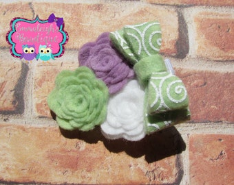 Mini Felt Flower Trio With Mini Stacked Felt Bow/ Small Clip
