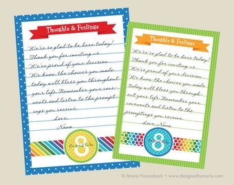 LDS Baptism Testimony Cards Printable: Rainbow Design -- Guests Write Their Thoughts & Feelings for a Great Keepsake, Memento, Memoriablilia