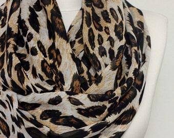 Leopard Infinity scarf, Circle scarf, Loop scarf, scarves, shawls, spring - fall - winter - summer fashion