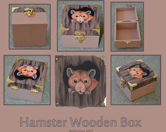 Syrian Hamster Wooden Box - Golden Hamster Colour - SALE