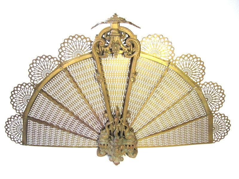 Brass Fireplace Screen Art Deco Regency