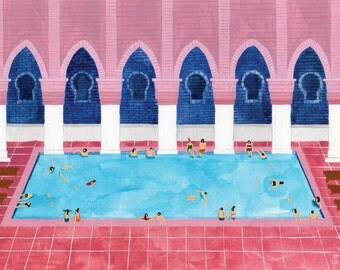 Art Print of original Watercolor painting - 'Moroccan Riad'