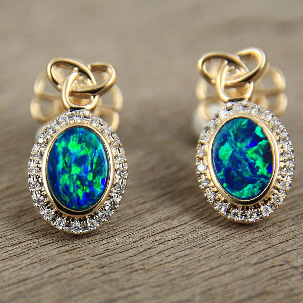 sparkling black opal amp diamond earrings 14k yellow gold