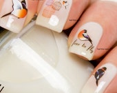 Nail Art Wraps Decals Water Transfer Red Vintage Birds & Bird Cages Y1990