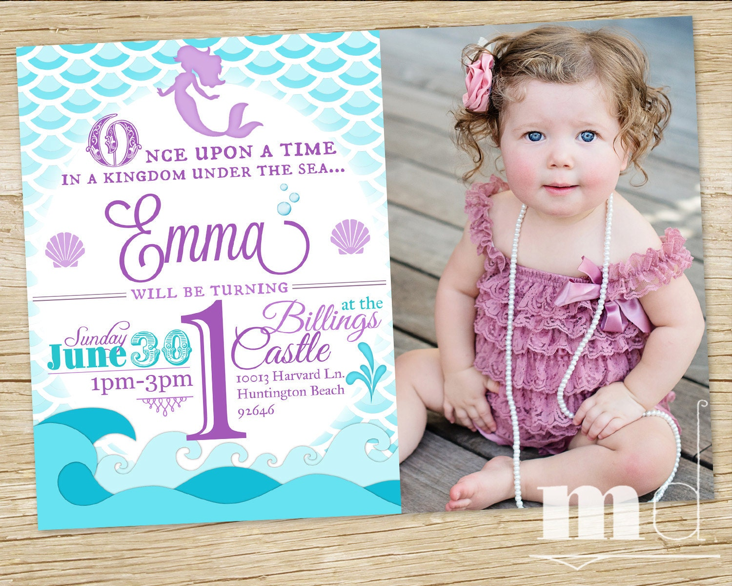 Mermaid Birthday Party Invitation WITH PHOTO Little Invite Ariel Scales Custom Photo PRINTABLE