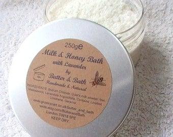 Bath Milk with Honey, Luxury Bath Soak, Milk and Honey Bath 250g / 8.8oz Spa Bath Salts