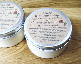 Whipped Body Butter, Jasmine & Rose Body Butter - Natural Body Lotion 100ml