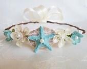Sea Siren Mermaid Crown- Beach Wedding Wreath- Hair Accessory-Sea Star Mermaid Crown