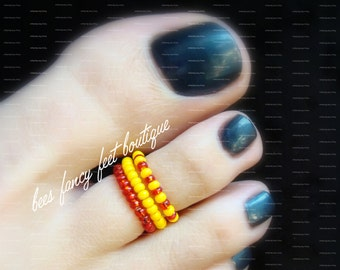 SALE - Stacking Toe Rings - Red - Yellow - Retro - Stretch Bead Toe Ring