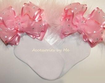 Glitz Pageant Socks, Light Pink Bow Socks, Light Pink Organza Marabou Fur Trim Socks, Baby Girls Pink Socks, Toddler Pink 1st Birthday Socks