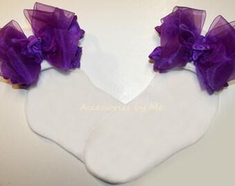 Purple Ruffle Socks, Baby Ruffle Sock, Purple Organza Ruffle Ribbon Bow Socks, Purple Ruffle Pageant Sock, Infant Purple Socks, Easter Socks