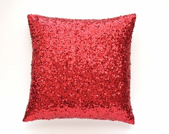 "20"" x 20"" - Red Sequin Pillow Cover  - Decorative Pillow, Throw Pillow, Sparkle Pillow, Red Pillow, Valentine Pillow"