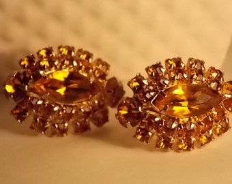 Vintage Golden Yellow Gold Filled Prong Set Rhinestone Screw Back Earrings