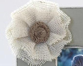 ADD ON Large White Ruffled Burlap Flower