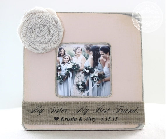 ... Gift Personalized Picture Frame Rustic Shabby Wedding Gift My Sister