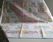 Vintage California Souvenir Tablecloth / American West cotton Cloth mid century vacation kitsch kitchen decor travel collectible linens