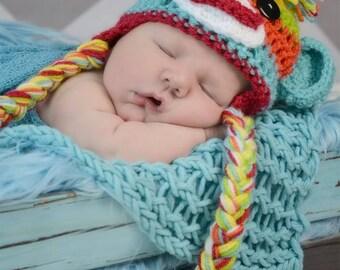 Newborn colorful sock monkey hat
