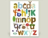 Woodland Letters Alphabet Art Print, Children's or Nursery Artwork